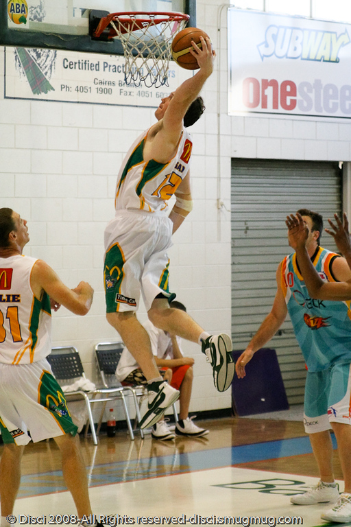 Daniel Egan elevates - Cairns NBL pre-season basketball tournament; Tropical North Queensland, Australia; August 2008.
