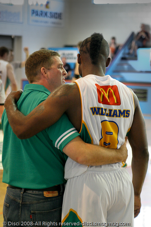 Trevor Gleeson & Corey Williams conduct their 'love-in' - Cairns NBL pre-season basketball tournament; Tropical North Queensland, Australia; August 2008.