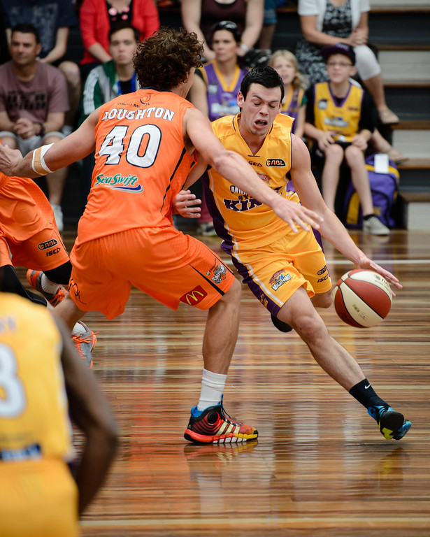 "Jason Cadee, Alex Loughton - Cairns Taipans v Sydney Kings - 2014 NBL Blitz Basketball, NAB Stadium, Auchenflower, Brisbane, Qld, AUS. Day 3, Camera 1. Photos by Des Thureson - <a href=""http://disci.smugmug.com"">http://disci.smugmug.com</a>."