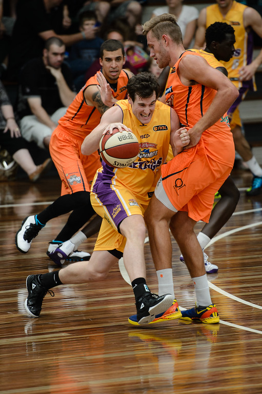 "Ben Madgen, Mitchell Young - Cairns Taipans v Sydney Kings - 2014 NBL Blitz Basketball, NAB Stadium, Auchenflower, Brisbane, Qld, AUS. Day 3, Camera 1. Photos by Des Thureson - <a href=""http://disci.smugmug.com"">http://disci.smugmug.com</a>."