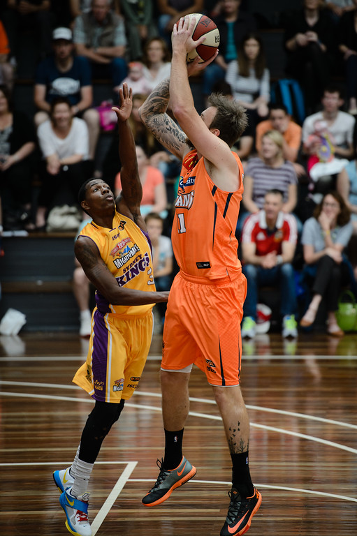 "Cam Tragardh, Kendrick Perry - Cairns Taipans v Sydney Kings - 2014 NBL Blitz Basketball, NAB Stadium, Auchenflower, Brisbane, Qld, AUS. Day 3, Camera 1. Photos by Des Thureson - <a href=""http://disci.smugmug.com"">http://disci.smugmug.com</a>."