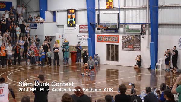 """Video - short video of the Slam Dunk Contest at the 2014 NBL Blitz - Basketball; Auchenflower, Brisbane, Qld AUS. Also available on Vimeo here: <a href=""""https://vimeo.com/106988276"""">https://vimeo.com/106988276</a>"""