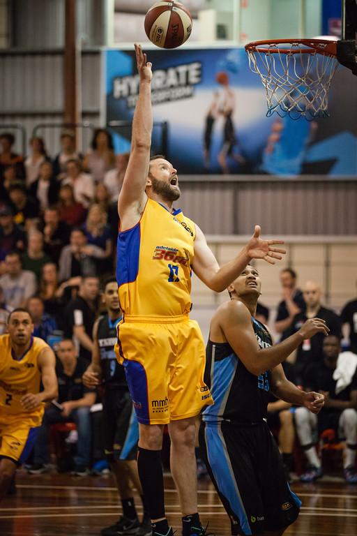 """Anthony Petrie - Adelaide 36ers v New Zealand Breakers - 2014 NBL Blitz Basketball, NAB Stadium, Auchenflower, Brisbane, Qld, AUS. Day 1. Photos by Des Thureson - <a href=""""http://disci.smugmug.com"""">http://disci.smugmug.com</a>."""