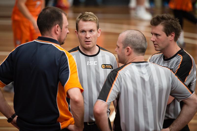 "Meeting - Cairns Taipans v Sydney Kings - 2014 NBL Blitz Basketball, NAB Stadium, Auchenflower, Brisbane, Qld, AUS. Day 3, Camera 1. Photos by Des Thureson - <a href=""http://disci.smugmug.com"">http://disci.smugmug.com</a>."