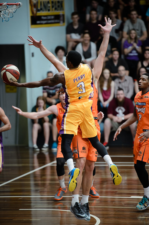 "Kendrick Perry - Cairns Taipans v Sydney Kings - 2014 NBL Blitz Basketball, NAB Stadium, Auchenflower, Brisbane, Qld, AUS. Day 3, Camera 1. Photos by Des Thureson - <a href=""http://disci.smugmug.com"">http://disci.smugmug.com</a>."