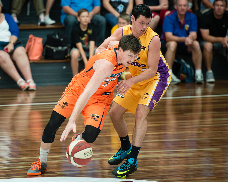 "Cameron Gliddon, Jason Cadee - Cairns Taipans v Sydney Kings - 2014 NBL Blitz Basketball, NAB Stadium, Auchenflower, Brisbane, Qld, AUS. Day 3, Camera 1. Photos by Des Thureson - <a href=""http://disci.smugmug.com"">http://disci.smugmug.com</a>."