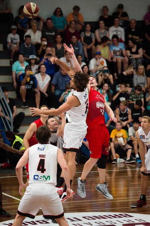 "Matthew Knight, David Gruber - Perth Wildcats v Wollongong Hawks - 2014 NBL Blitz Basketball, NAB Stadium, Auchenflower, Brisbane, Qld, AUS. Day 3, Camera 1. Photos by Des Thureson - <a href=""http://disci.smugmug.com"">http://disci.smugmug.com</a>."