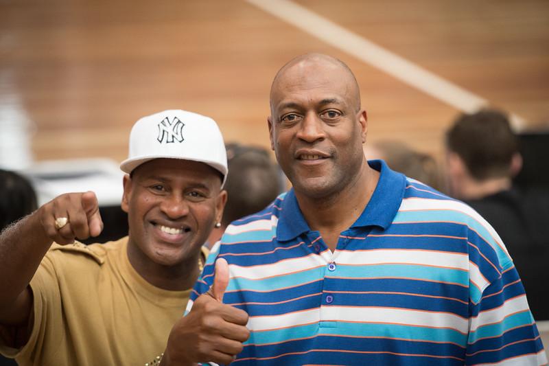 "Brisbane and NBL Legends Cal Bruton (L) and Leroy Loggins - 2014 NBL Blitz Basketball, NAB Stadium, Auchenflower, Brisbane, Qld, AUS. Day 3, Camera 1. Photos by Des Thureson - <a href=""http://disci.smugmug.com"">http://disci.smugmug.com</a>."