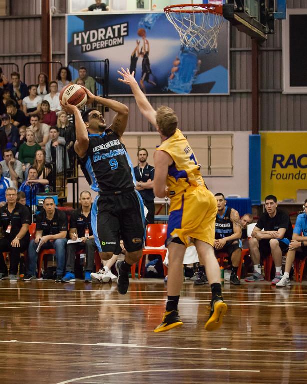 "Corey Webster, Brendan Teys - Adelaide 36ers v New Zealand Breakers - 2014 NBL Blitz Basketball, NAB Stadium, Auchenflower, Brisbane, Qld, AUS. Day 1. Photos by Des Thureson - <a href=""http://disci.smugmug.com"">http://disci.smugmug.com</a>."