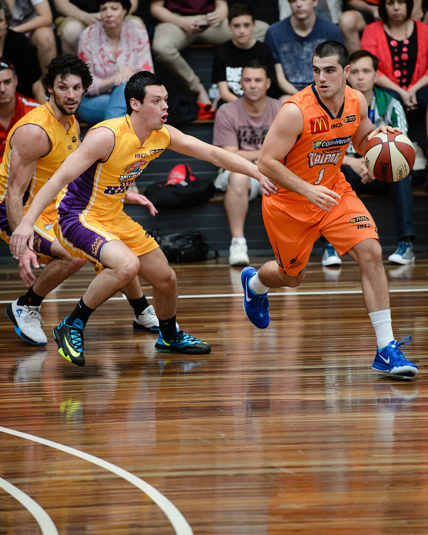 "Cory Maynard, Jason Cadee - Cairns Taipans v Sydney Kings - 2014 NBL Blitz Basketball, NAB Stadium, Auchenflower, Brisbane, Qld, AUS. Day 3, Camera 1. Photos by Des Thureson - <a href=""http://disci.smugmug.com"">http://disci.smugmug.com</a>."