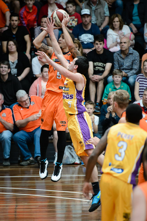 "Scott Wilbekin, Jason Cadee - Cairns Taipans v Sydney Kings - 2014 NBL Blitz Basketball, NAB Stadium, Auchenflower, Brisbane, Qld, AUS. Day 3, Camera 1. Photos by Des Thureson - <a href=""http://disci.smugmug.com"">http://disci.smugmug.com</a>."