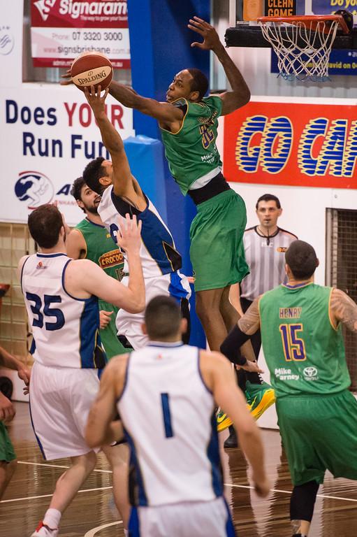 "Mickell Gladness - Townsville Crocs v New Zealand Breakers - 2014 NBL Blitz Basketball, NAB Stadium, Auchenflower, Brisbane, Qld, AUS. Day 2. Photos by Des Thureson - <a href=""http://disci.smugmug.com"">http://disci.smugmug.com</a>."