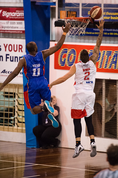 "Tyson Demos, Jamar Wilson - Wollongong Hawks v Adelaide 36ers - 2014 NBL Blitz Basketball, NAB Stadium, Auchenflower, Brisbane, Qld, AUS. Day 2. Photos by Des Thureson - <a href=""http://disci.smugmug.com"">http://disci.smugmug.com</a>."