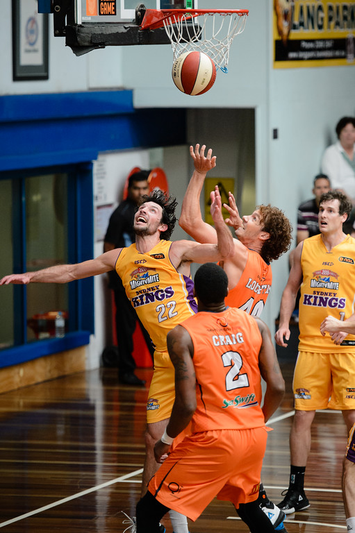 "Kevin White, Alex Loughton - Cairns Taipans v Sydney Kings - 2014 NBL Blitz Basketball, NAB Stadium, Auchenflower, Brisbane, Qld, AUS. Day 3, Camera 1. Photos by Des Thureson - <a href=""http://disci.smugmug.com"">http://disci.smugmug.com</a>."