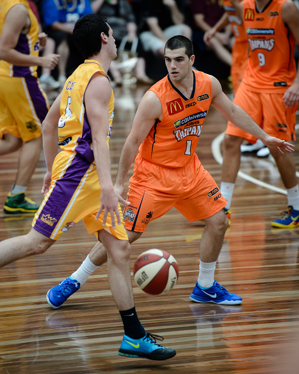 "Jason Cadee, Cory Maynard - Cairns Taipans v Sydney Kings - 2014 NBL Blitz Basketball, NAB Stadium, Auchenflower, Brisbane, Qld, AUS. Day 3, Camera 1. Photos by Des Thureson - <a href=""http://disci.smugmug.com"">http://disci.smugmug.com</a>."