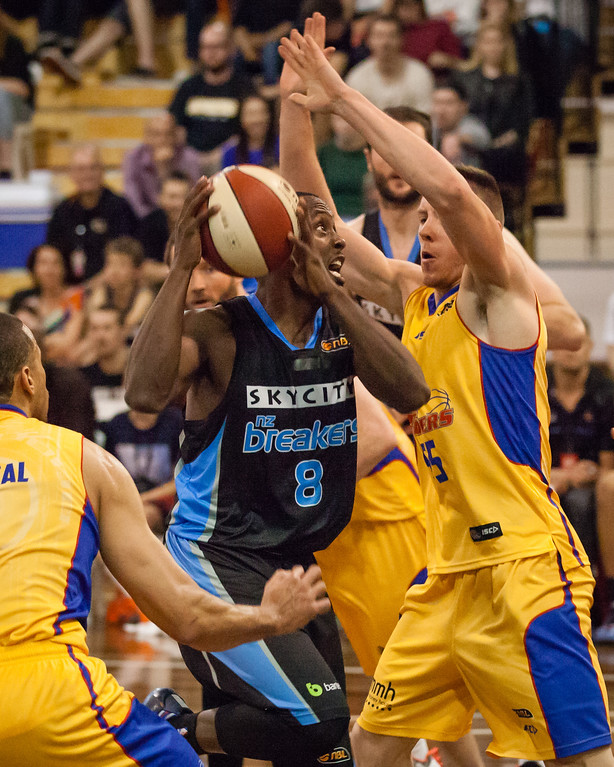 """Cedric Jackson, Mitch Creek - Adelaide 36ers v New Zealand Breakers - 2014 NBL Blitz Basketball, NAB Stadium, Auchenflower, Brisbane, Qld, AUS. Day 1. Photos by Des Thureson - <a href=""""http://disci.smugmug.com"""">http://disci.smugmug.com</a>."""