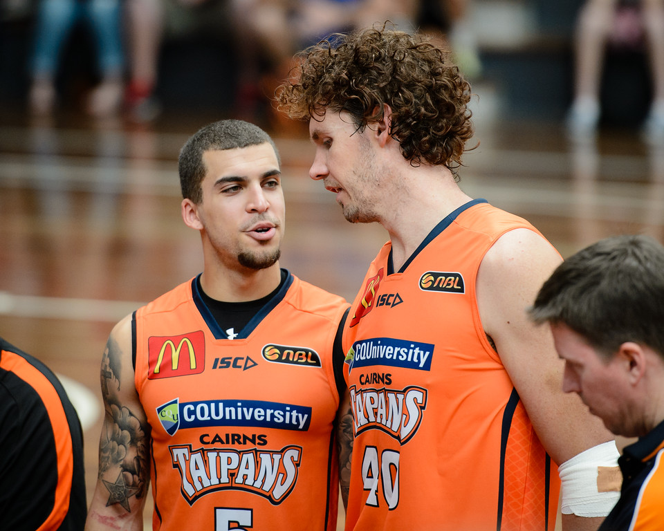"Scott Wilbekin, Alex Loughton - Cairns Taipans v Sydney Kings - 2014 NBL Blitz Basketball, NAB Stadium, Auchenflower, Brisbane, Qld, AUS. Day 3, Camera 1. Photos by Des Thureson - <a href=""http://disci.smugmug.com"">http://disci.smugmug.com</a>."