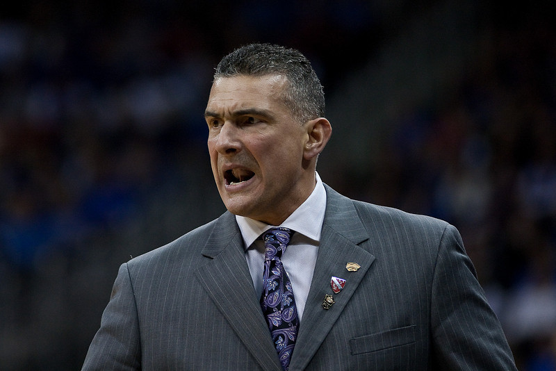 13 March 2010: Kansas State Wildcats head coach Frank Martin expresses frustration with his team during the Phillips 66 Big 12 Men's Basketball Championship Final.  The Kansas Jayhawks defeated the Kansas State Wildcats 72-64 at Sprint Center in Kansas City, Missouri.