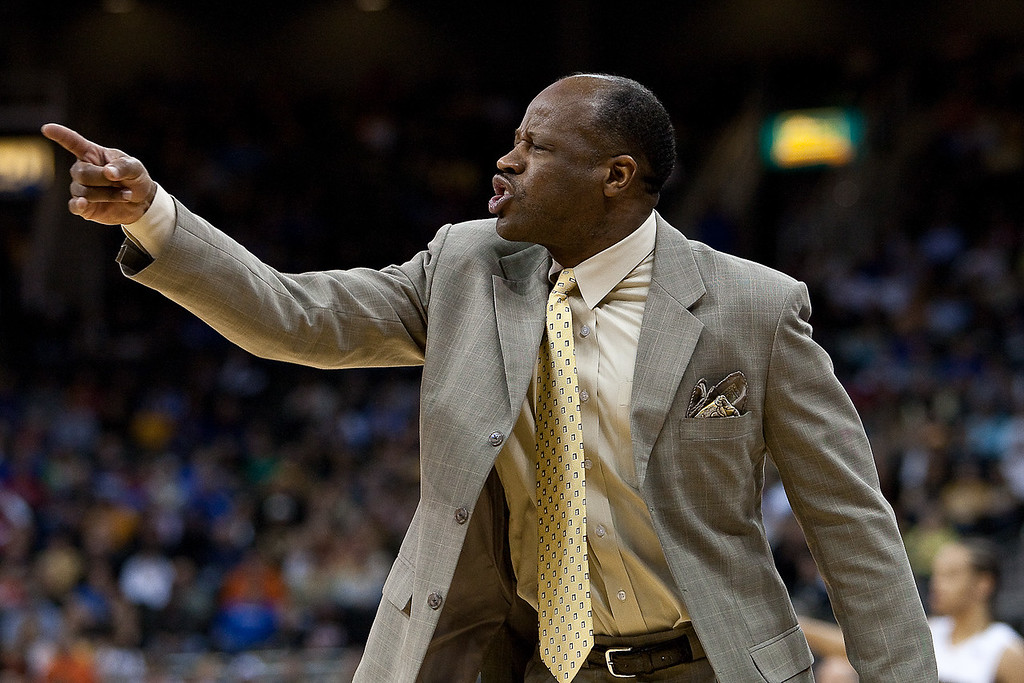 10 March 2010: Missouri Tigers head coach Mike Anderson reacts to a call during the first round of the Phillips 66 Big 12 Men's Basketball Championship.  The Nebraska Cornhuskers defeated the Missouri Tigers 75-60 at Sprint Center in Kansas City, Missouri.
