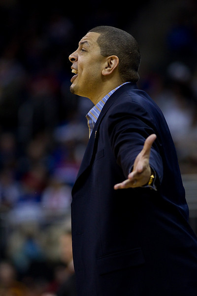 10 March 2010: Oklahoma Sooners head coach Jeff Capel reacts to a call during the first round of the Phillips 66 Big 12 Men's Basketball Championship.  The Oklahoma State Cowboys defeated the Oklahoma Sooners 81-67 at Sprint Center in Kansas City, Missouri.
