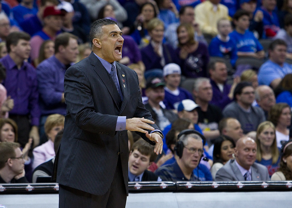 12 March 2010: Kansas State Wildcats head coach Frank Martin yells at his team during the semifinals of the Phillips 66 Big 12 Men's Basketball Championship.  The Kansas State Wildcats defeated the Baylor Bears 82-75 at Sprint Center in Kansas City, Missouri.