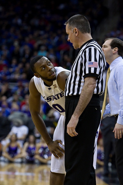 12 March 2010: Kansas State Wildcats guard Jacob Pullen (0) talks with an official during the semifinals of the Phillips 66 Big 12 Men's Basketball Championship.  The Kansas State Wildcats defeated the Baylor Bears 82-75 at Sprint Center in Kansas City, Missouri.