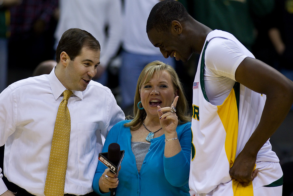 11 March 2010: Baylor Bears head coach Scott Drew and forward Ekpe Udoh (13) talk with ESPN after the quarterfinals of the Phillips 66 Big 12 Men's Basketball Championship.  The Baylor Bears defeated the Texas Longhorns 86-67 at Sprint Center in Kansas City, Missouri.