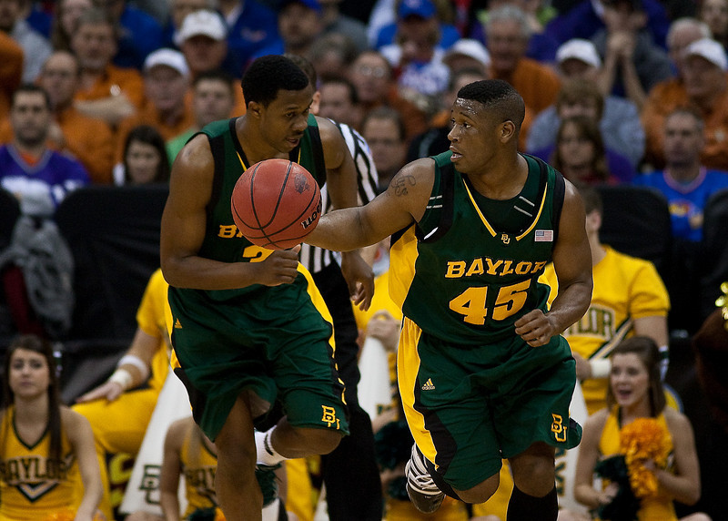 12 March 2010: Baylor Bears guard Tweety Carter (45) brings the ball up court during the semifinals of the Phillips 66 Big 12 Men's Basketball Championship.  The Kansas State Wildcats defeated the Baylor Bears 82-75 at Sprint Center in Kansas City, Missouri.