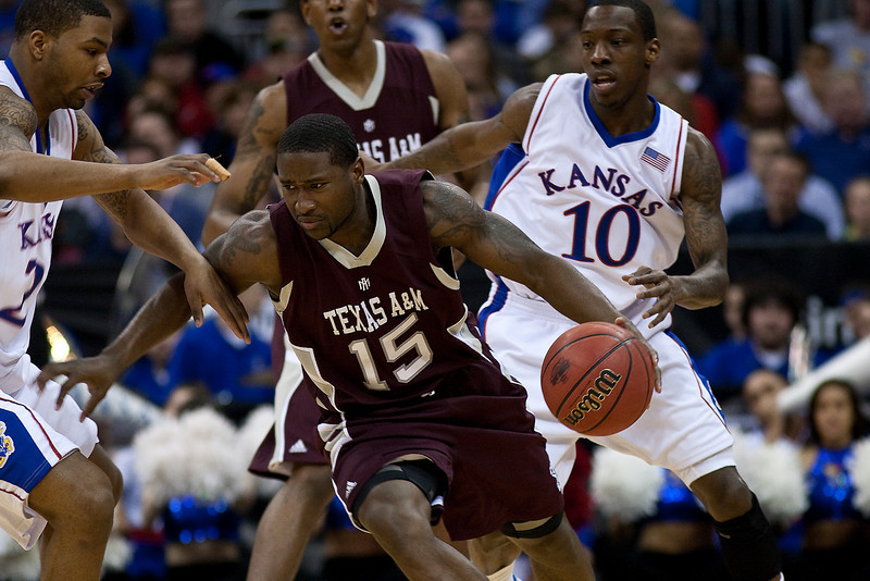 12 March 2010: Texas A&M Aggies guard Donald Sloan (15) drives with the ball during the semifinals of the Phillips 66 Big 12 Men's Basketball Championship.  The Kansas Jayhawks defeated the Texas A&M Aggies 79-66 at Sprint Center in Kansas City, Missouri.