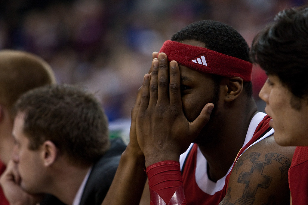11 March 2010: Nebraska Cornhuskers guard Sek Henry (5) covers his face near the end of the game during the quarterfinals of the Phillips 66 Big 12 Men's Basketball Championship.  The Texas A&M Aggies defeated the Nebraska Cornhuskers 70-64 at Sprint Center in Kansas City, Missouri.