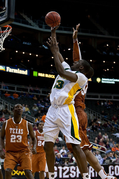 11 March 2010: Baylor Bears forward Ekpe Udoh (13) goes up for a shot during the quarterfinals of the Phillips 66 Big 12 Men's Basketball Championship.  The Baylor Bears defeated the Texas Longhorns 86-67 at Sprint Center in Kansas City, Missouri.