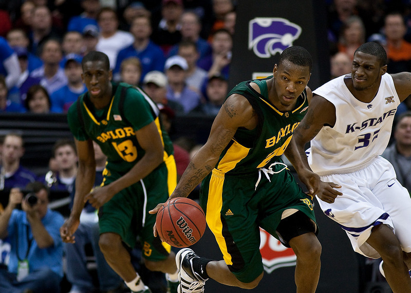 12 March 2010: Baylor Bears guard LaceDarius Dunn (24) pushes the ball up court during the semifinals of the Phillips 66 Big 12 Men's Basketball Championship.  The Kansas State Wildcats defeated the Baylor Bears 82-75 at Sprint Center in Kansas City, Missouri.