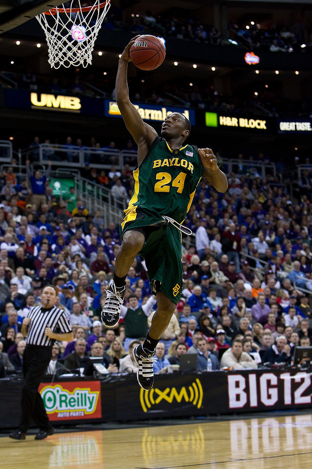 12 March 2010: Baylor Bears guard LaceDarius Dunn (24) lays one in during the semifinals of the Phillips 66 Big 12 Men's Basketball Championship.  The Kansas State Wildcats defeated the Baylor Bears 82-75 at Sprint Center in Kansas City, Missouri.