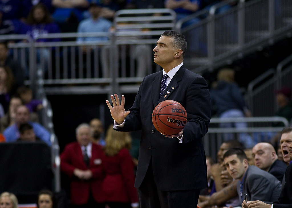 11 March 2010: Kansas State Wildcats head coach Frank Martin tells his team to calm down during the quarterfinals of the Phillips 66 Big 12 Men's Basketball Championship.  The Kansas State Wildcats defeated the Oklahoma State Cowboys 83-64 at Sprint Center in Kansas City, Missouri.