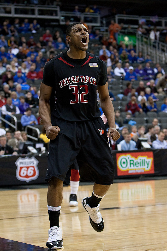 11 March 2010: Texas Tech Red Raiders forward Mike Singletary (32) reacts to a call during the quarterfinals of the Phillips 66 Big 12 Men's Basketball Championship.  The Kansas Jayhawks defeated the Texas Tech Red Raiders 80-68 at Sprint Center in Kansas City, Missouri.