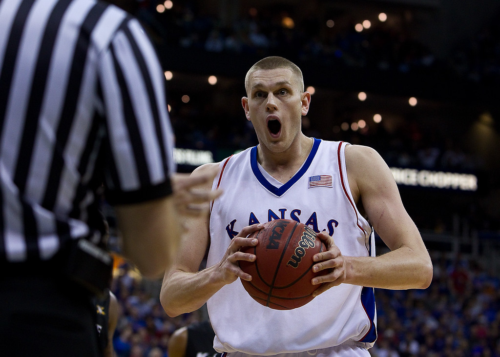 13 March 2010: Kansas Jayhawks center Cole Aldrich (45) reacts to a call during the Phillips 66 Big 12 Men's Basketball Championship Final.  The Kansas Jayhawks defeated the Kansas State Wildcats 72-64 at Sprint Center in Kansas City, Missouri.
