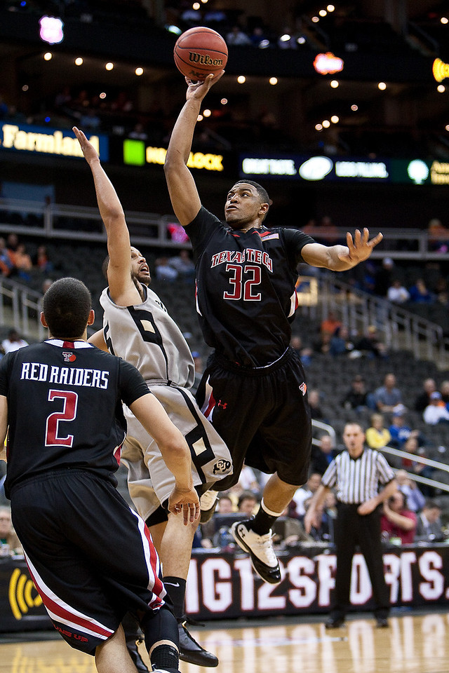 10 March 2010: Texas Tech Red Raiders forward Mike Singletary (32) goes up for a shot during the first round of the Phillips 66 Big 12 Men's Basketball Championship.  The Texas Tech Red Raiders defeated the Colorado Buffaloes 82-67 at Sprint Center in Kansas City, Missouri.