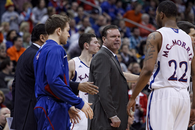 March 10, 2011: Kansas Jayhawks head coach Bill Self is furious after foul call during the quarterfinals of the Phillips 66 Big 12 Men's Basketball Championship.  The Oklahoma State Cowboys led the Kansas Jayhawks 41-35 at the half at Sprint Center in Kansas City, Missouri.