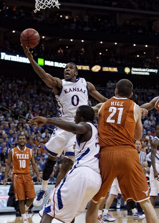 March 12, 2011: Kansas Jayhawks forward Thomas Robinson (0) goes up for a shot during the Phillips 66 Big 12 Men's Basketball Championship final.  The Kansas Jayhawks defeated the Texas Longhorns 73-85 at Sprint Center in Kansas City, Missouri.