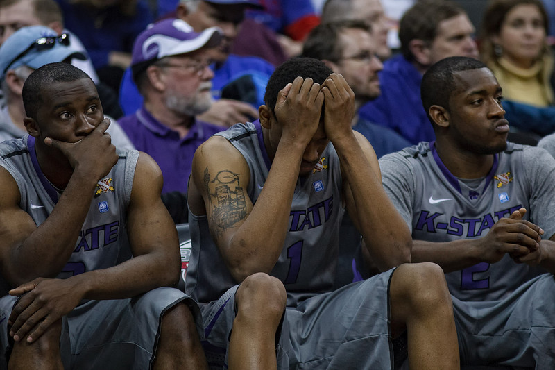 March 10, 2011: Kansas State players on the bench look dejected as time runs out during the quarterfinals of the Phillips 66 Big 12 Men's Basketball Championship.  The Colorado Buffaloes defeated the Kansas State Wildcats 87-75 at Sprint Center in Kansas City, Missouri.