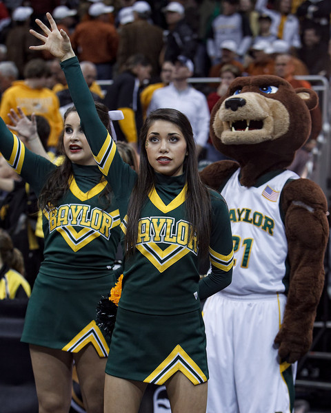 March 9, 2011: Baylor cheerleaders and mascot show the bear claw during the first round of the Phillips 66 Big 12 Men's Basketball Championship.  The Oklahoma Sooners defeated the Baylor Bears 84-67 at Sprint Center in Kansas City, Missouri.