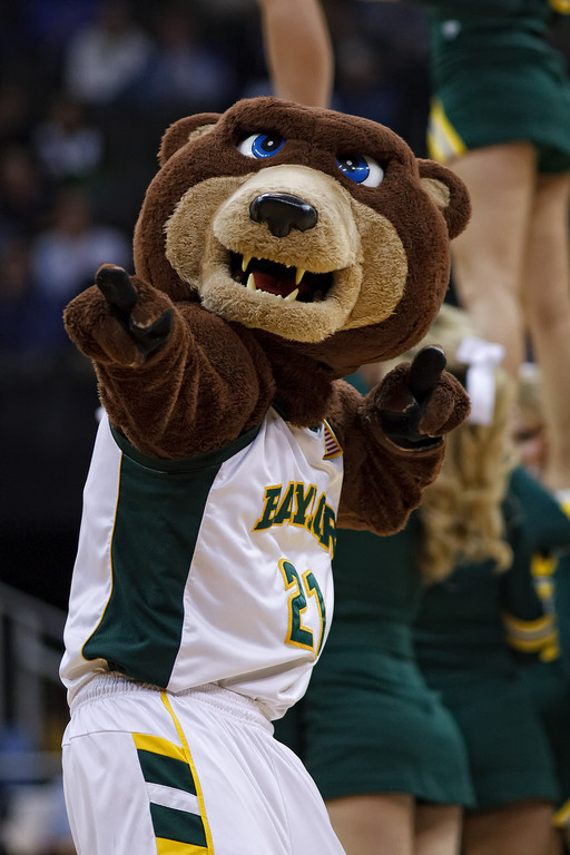 March 9, 2011: The Baylor mascot entertains the crowd during the first round of the Phillips 66 Big 12 Men's Basketball Championship.  The Oklahoma Sooners defeated the Baylor Bears 84-67 at Sprint Center in Kansas City, Missouri.
