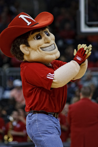 March 9, 2011: The Nebraska mascot entertains the crowd during the first round of the Phillips 66 Big 12 Men's Basketball Championship.  The Oklahoma State Cowboys defeated the Nebraska Cornhuskers 53-52 at Sprint Center in Kansas City, Missouri.