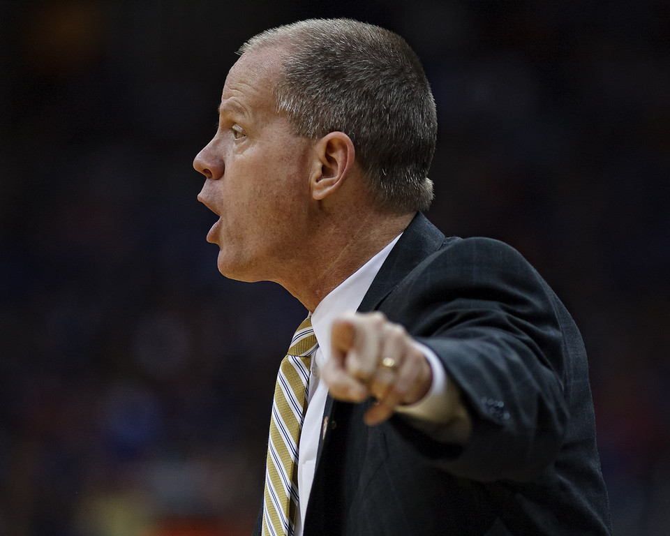 March 11, 2011: Colorado Buffaloes head coach Tad Boyle instructs his team during the semifinals of the Phillips 66 Big 12 Men's Basketball Championship.  The Kansas Jayhawks defeated the Colorado Buffaloes 83-90 at Sprint Center in Kansas City, Missouri.
