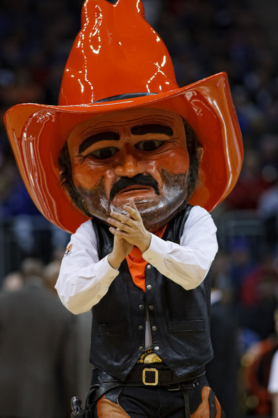 March 10, 2011: The Oklahoma State mascot entertains the crowd during the quarterfinals of the Phillips 66 Big 12 Men's Basketball Championship.  The Oklahoma State Cowboys led the Kansas Jayhawks 41-35 at the half at Sprint Center in Kansas City, Missouri.