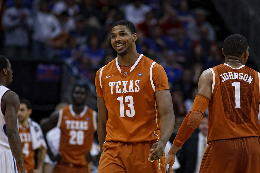 March 12, 2011: Texas Longhorns forward Tristan Thompson (13) smiles after getting called for a foul during the Phillips 66 Big 12 Men's Basketball Championship final.  The Kansas Jayhawks defeated the Texas Longhorns 73-85 at Sprint Center in Kansas City, Missouri.