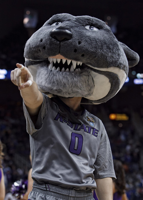 March 10, 2011: The Kansas State mascot points to a fan during the quarterfinals of the Phillips 66 Big 12 Men's Basketball Championship.  The Kansas State Wildcats led the Colorado Buffaloes 37-39 at the half at Sprint Center in Kansas City, Missouri.