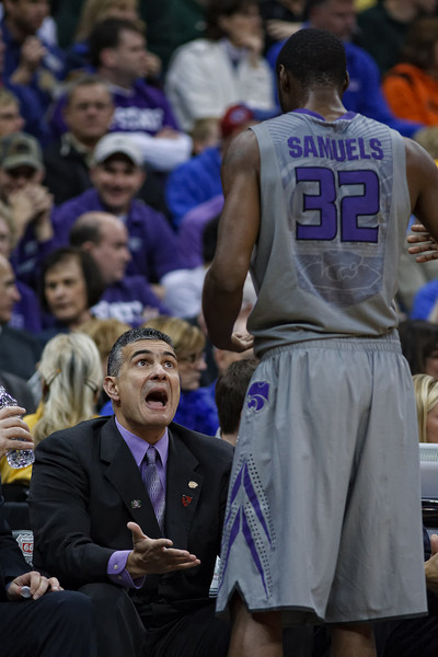 March 10, 2011: Kansas State Wildcats head coach Frank Martin expresses frustration with forward Jamar Samuels (32) during the quarterfinals of the Phillips 66 Big 12 Men's Basketball Championship.  The Kansas State Wildcats led the Colorado Buffaloes 37-39 at the half at Sprint Center in Kansas City, Missouri.
