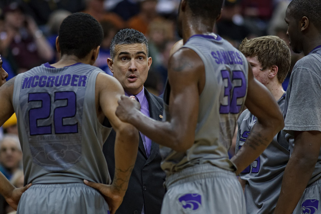 March 10, 2011: Kansas State Wildcats head coach Frank Martin instructs his team during a timeout at the quarterfinals of the Phillips 66 Big 12 Men's Basketball Championship.  The Colorado Buffaloes defeated the Kansas State Wildcats 87-75 at Sprint Center in Kansas City, Missouri.