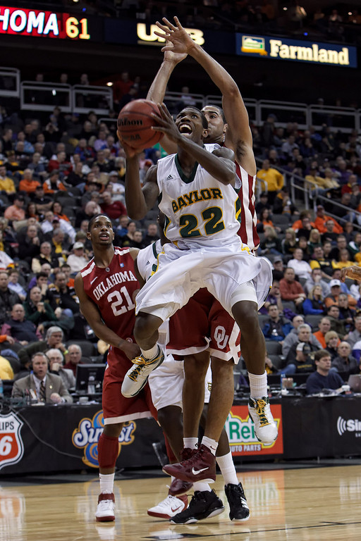 March 9, 2011: Baylor Bears guard A.J. Walton (22) goes up for a shot during the first round of the Phillips 66 Big 12 Men's Basketball Championship.  The Oklahoma Sooners defeated the Baylor Bears 84-67 at Sprint Center in Kansas City, Missouri.